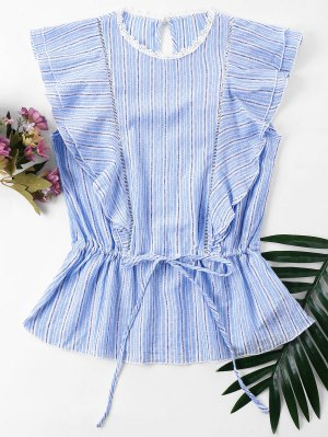 Striped Ruffles Blouse - Powder Blue L