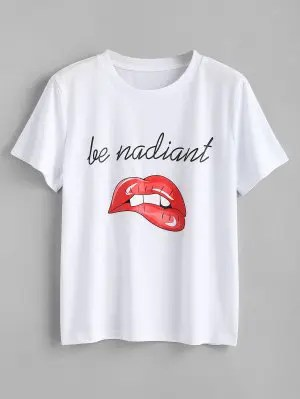Letter Lips Print T Shirt - White M