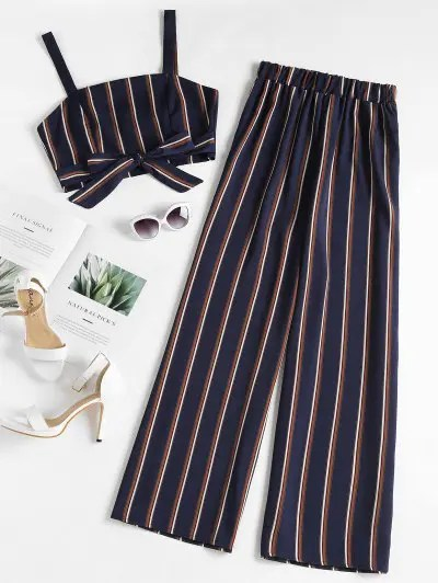 zaful Striped Zip Top and Wide Leg Pants