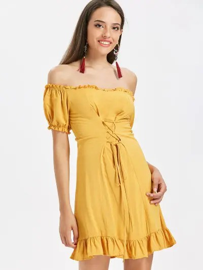 Lace Up Off The Shoulder Dress
