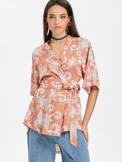 Floral Print Wrap Kimono Blouse