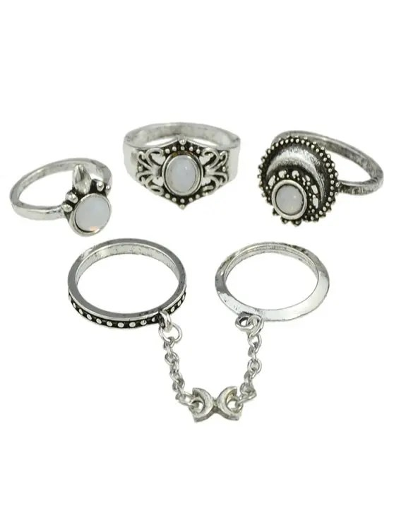 2019 Retro Bohemian Artificial Gemstone Finger Rings Set