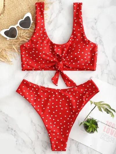 Heart Tie Front Bikini Set