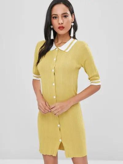 Button Up Striped Dress