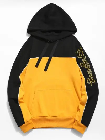 Embroidered Letter Color Block Hoodie