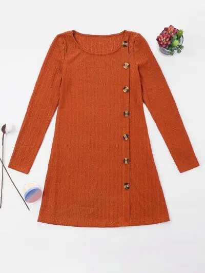 Buttons Embellished Dress