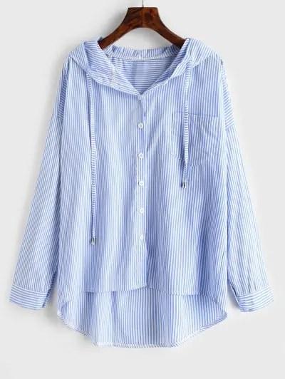 Stripe Hooded Shirt