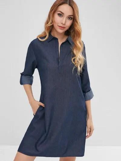 Cuffed Sleeves Chambray Dress