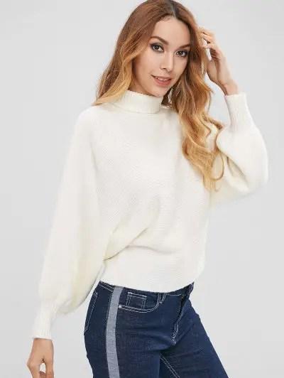 Batwing Sleeve Turtleneck Sweater