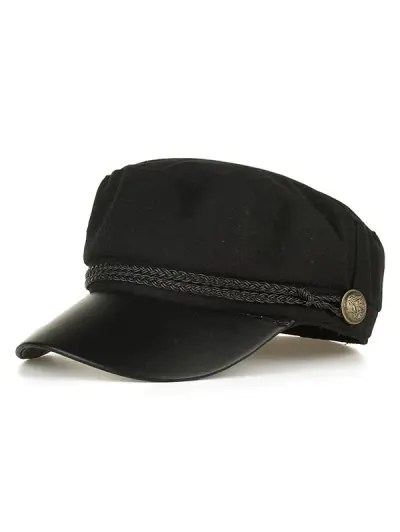 PU Leather Braided Band Flat Top Hat