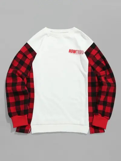 Letter Checked Patch Sweatshirt