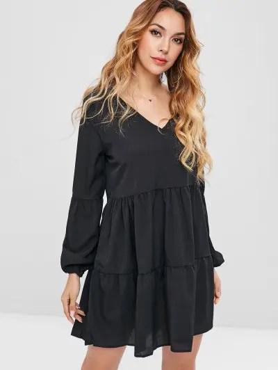 Long Sleeve A Line Dress