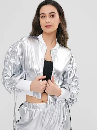 Contrast Trim Metallic Jacket