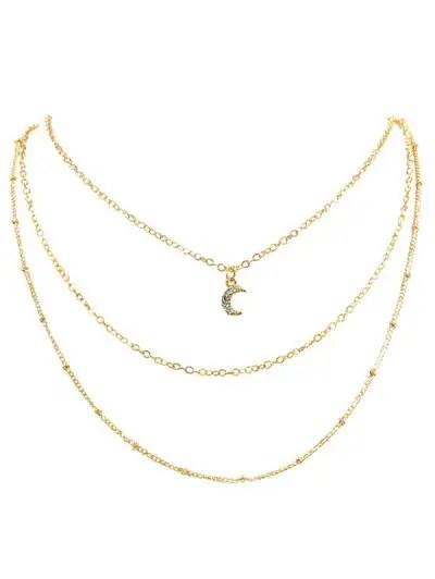 Rhinestone Moon Multi Layers Alloy Necklace