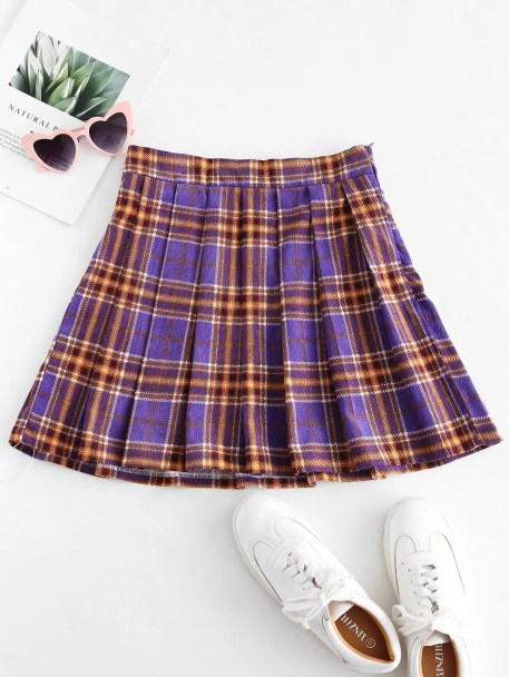 ZAFUL Plaid Pleated Flare Skirt