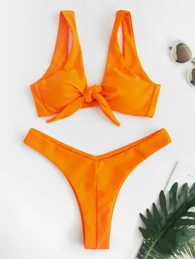 Bunny Tie Front Bikini Top and Bottoms