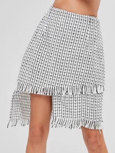 Checked Frayed Asymmetric Skirt
