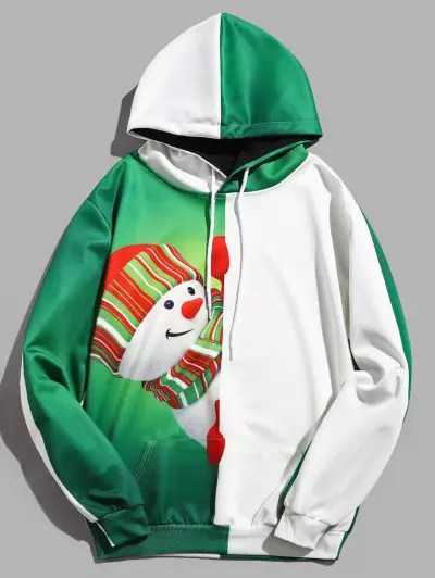 Contract Color Snowman Pattern Hoodie