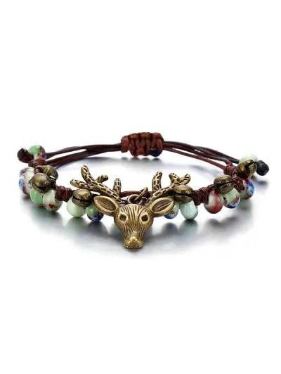 Deer Head with Bell Pattern Bracelet