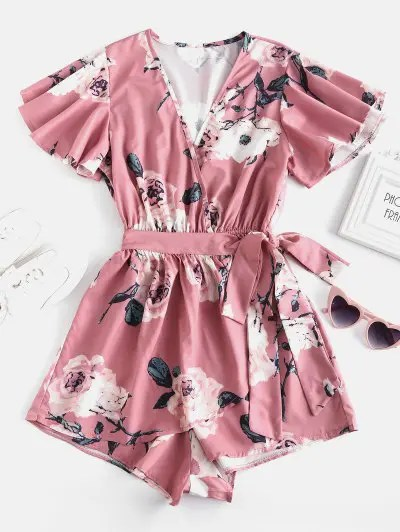 zaful Plunging Neck Floral Print Layered Romper