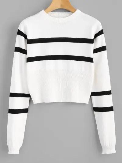 Color Block Stripe Sweater Crop Top
