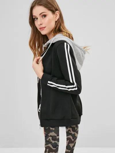 Detachable Hood Stripes Hoodie