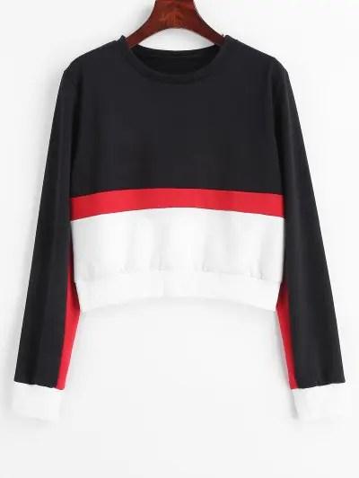 Color Block Cropped Pullover Sweatshirt