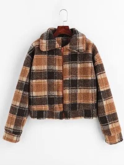 Checked Faux Fur Short Coat