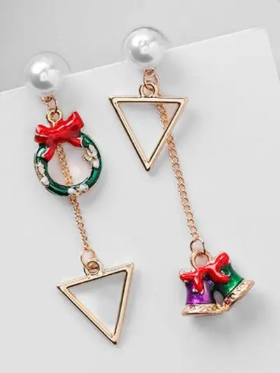 Asymmetric Christmas Bell and Artificial Pearl Earrings