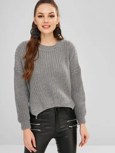 Button Embellished Loose Sweater
