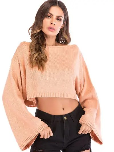 Wide Sleeve Boat Neck Cropped Sweater