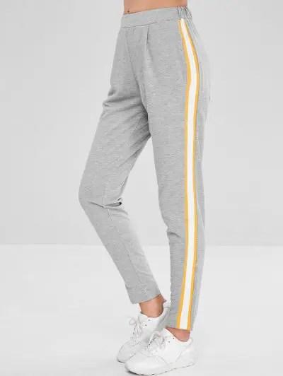 Solid Color Elastic Waist Pants