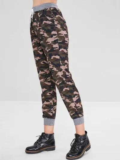 Camouflage Drawstring Elastic Waist Pants