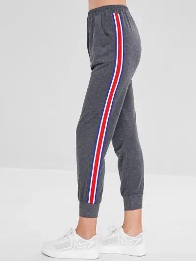 Ribbon Insert Elastic Waist Pants
