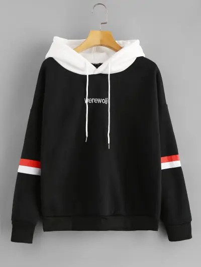 Letter Embroidered Hoodie