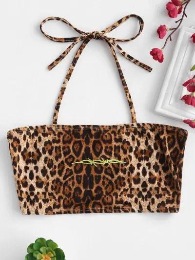 Leopard Print Halter Crop Top