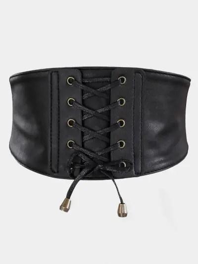 Vintage Drawstring PU Leather High Waist Belt