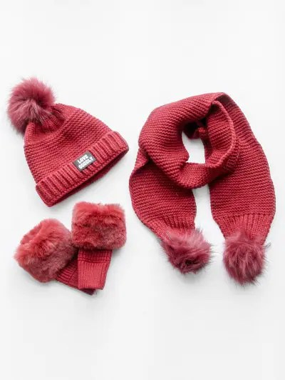 Winter Fuzzy Ball Knitted Beanie Scarf and Gloves Set