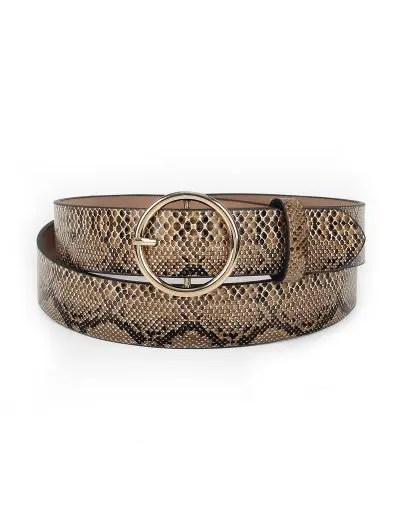 Snake Pattern Round Buckle Waist Belt