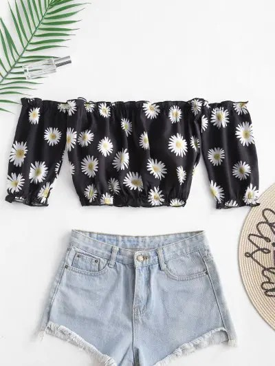 Daisy Print Off The Shoulder Top