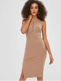 [36% OFF] 2019 High Slit Plain Fitted Dress In TAN ONE ...