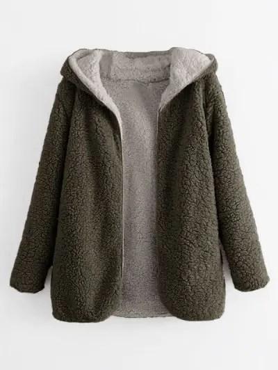 Open Front Lamb Wool Coat
