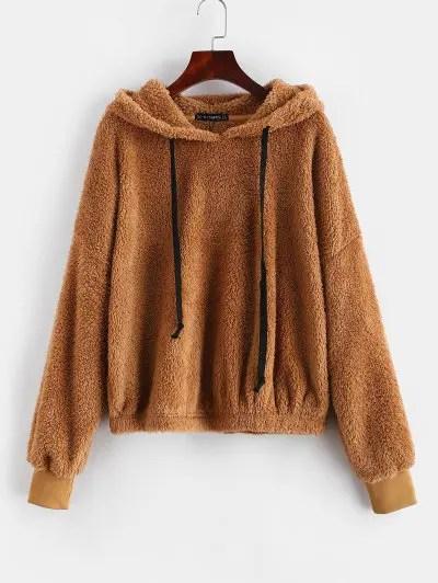 Contrasting Drawstring Fleece Pullover Hoodie