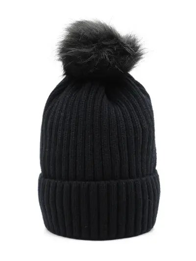 Fuzzy Ball Design Winter Knitted Hat