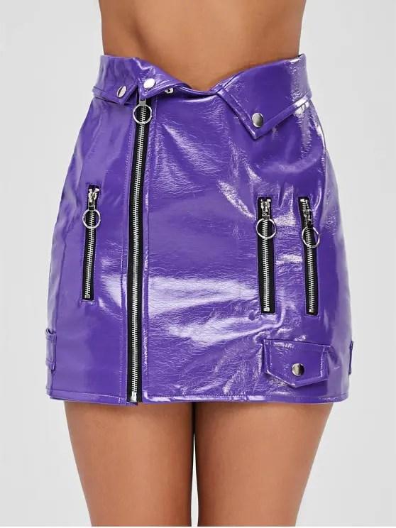 zipper pu leather skirt