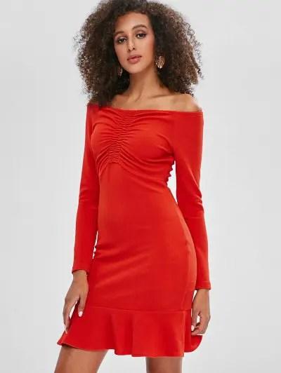 Cinched Off Shoulder Dress