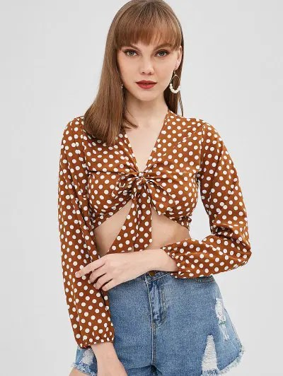 Knotted Polka Dot Blouse