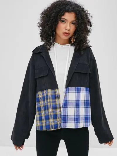Contrast Checker Corduroy Shirt