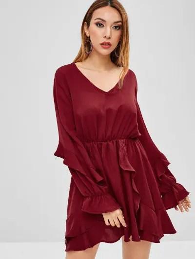 Long Sleeve Ruffled Mini Dress