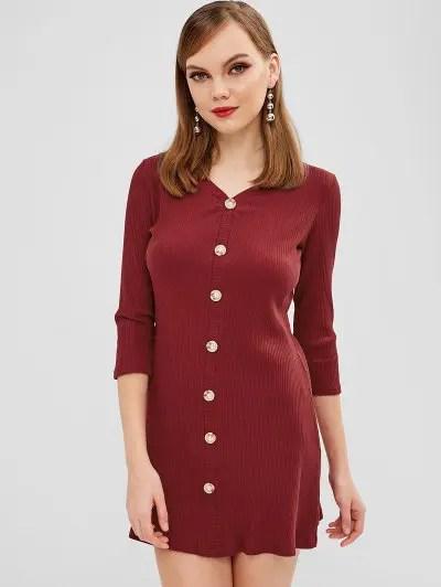 Buttons Embellished Plain Dress